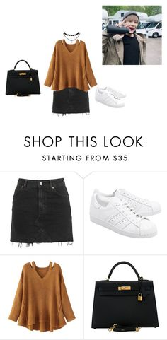 """Visiting Yoongi on Set"" by jscandyrawr ❤ liked on Polyvore featuring Topshop, adidas Originals, WithChic, Hermès, ootd, kpop, bts, Suga and yoongi"