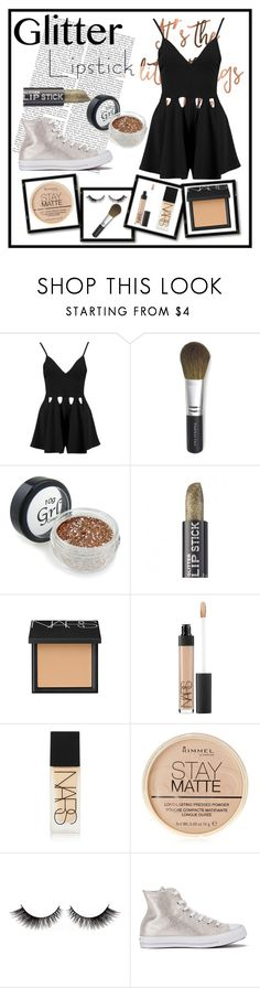 """""""Glitter Lipstick"""" by sarahcb2002 ❤ liked on Polyvore featuring beauty, Boohoo, Bare Escentuals, NARS Cosmetics, Rimmel and Converse"""