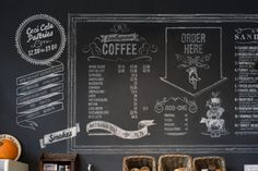 I really enjoy the creativity chalkboards can add to the atmosphere. Coffee shop chalk designs: in kitchen next to coffee, tea, and syrups