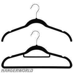 Wardrobe Set Of 20 Black Flocked Velvet Hangers - 42cm