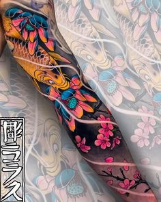 Vibrant tattoo sleeves by Swipe to the side to see both tattoos. Tribal Hand Tattoos, Hand Tattoos For Guys, Full Sleeve Tattoos, Leg Tattoos, Flower Tattoos, Body Art Tattoos, Irezumi Tattoos, Koi Tattoo Sleeve, Japanese Sleeve Tattoos