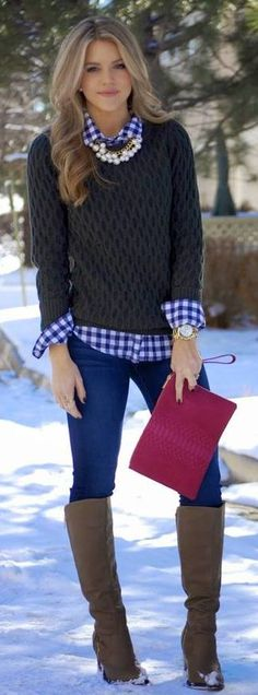 blue and white gingham shirt layered fall winter outfit