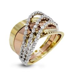 This tri-tone 18k gold band is fashion-foward, with yellow and rose gold forming the background for .73 ctw of white diamonds set in white gold.