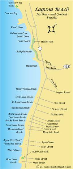 Laguna Beach map,  Orange County, CA