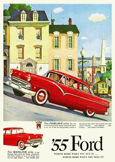 1955 Ford Fairlane Advertisement Poster San Franscisco Rock 'n' Roll Era