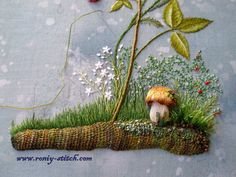 Embroidered mushroom - love this combination of stitches...