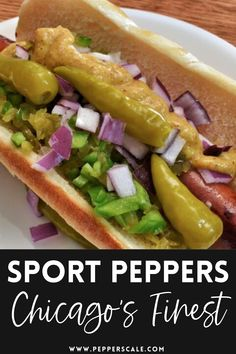 Chicago wouldn't be Chicago without sport peppers. These tangy, medium-heat pickled peppers are a must for Chicago-style hot dogs (served whole on the dog) and just as tasty sliced for sandwiches, hoagies, and pizzas. They pack a spicy bite from their seasoned brine that's simply delicious. #peppers #chicago #sportpeppers #chicagostylehotdogs Spicy Recipes, Mexican Food Recipes, Ethnic Recipes, Hot Dog Buns, Hot Dogs, Spicy Steak, Spicy Bite, Chicago Style, Stuffed Hot Peppers