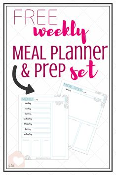 FREE Weekly Menu Planner & Meal Prep Set!! Love it! Pretty & Functional Menu/Meal Planner!! #mealplan #menuplan #mealprep #momlife