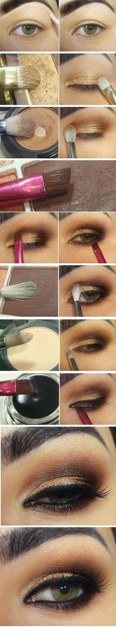 Sexy gold and brown smokey eye makeup tutorial