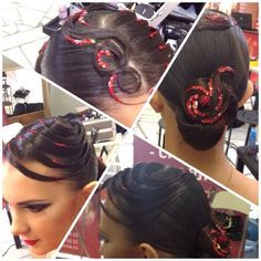 Low swirl bun with sweeping loops accented by red rhinestones. Good hairstyle for latin and standard ballroom.