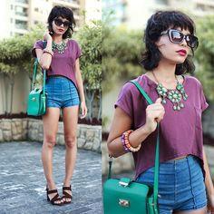 Club Couture Shirt, Chicnova Hot Pants, Zara Sunglasses