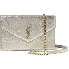 Saint Laurent Monogramme Envelope small metallic textured-leather... (€865) ❤ liked on Polyvore featuring bags, handbags, shoulder bags, gold, metallic handbags, party purse, zip purse, yves saint laurent shoulder bag and party handbags