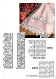 World Crochet: Crocheted Lace 36 - Diy Crafts Crochet Snowflake Pattern, Crochet Lace Edging, Crochet Hook Set, Crochet Snowflakes, Crochet Borders, Crochet Patterns, Crocheted Lace, Filet Crochet, Punto Red Crochet