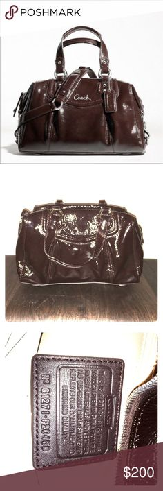 Coach Ashley Patent Leather Mahogany Satchel Brand new with tags Coach Patent Leather Satchel in Mahogany brown with silver hardware. Comes with removable shoulder strap. Coach Bags Satchels
