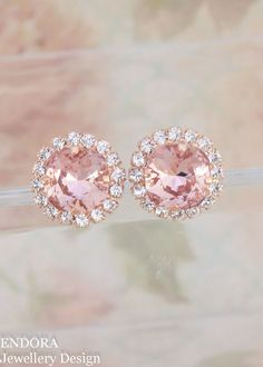 Petite blush earrings | Swarovski 10mm Vintage rose cushion cut crystal | blush wedding | blush bridal earrings | blush bridesmaid | endorajewellery.etsy.com
