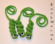 Crocheted Bookworm Bookmarks.
