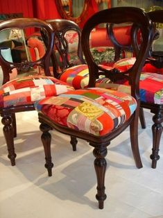 Gorgeous patchwork chairs by Lisa Whatmough for Squint Limited… Bespoke Furniture, Funky Furniture, Paint Furniture, Vintage Furniture, Furniture Design, Patchwork Sofa, Victorian Chair, Rococo Chair, Painted Chairs