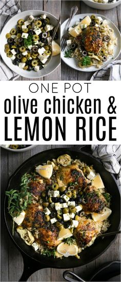 One Pot olive Chicken with Lemon Rice - poulet Tandoori Paneer, Marinated Chicken Thighs, Olive Recipes, Recipes With Olives, Lemon Rice, Cooking Recipes, Healthy Recipes, Cooking Ideas, Gourmet Recipes