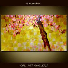 Flower, art, painting, acrylic painting, Original impasto cherry blossom wall art painting, Metallic Gold Modern Art painting 36x18