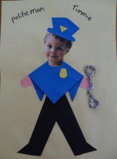 Preschool Lessons, Kindergarten Activities, Activities For Kids, Crafts For Kids, Police Crafts, People Who Help Us, Holiday Club, Community Helpers, Photo Craft