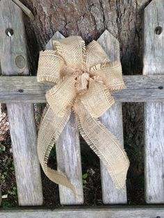 Fall Wreath Burlap Bow rustic country Chair Pew wedding light brown decoration autumn
