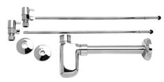 """Lavatory Supply Kit w/ Decorative Trap - Angle - Contemporary Lever Handle - (5/8"""" O.D.) 1/2"""" Compression Inlet"""
