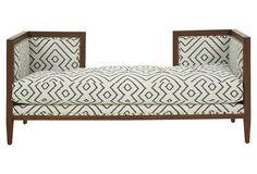 "Dixon 68"" Bench, White/Navy - Brownstone Upholstery"