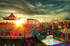 Amusement park at dusk.