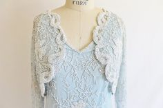 Vintage 80's Blue White Beaded Dress Winter by perniejaynevintage, $98.00