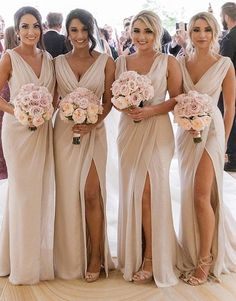 Simple V Neck Sleeveless Side Slit Chiffon Cheap Bridesmaid Dresses EVERISA is top 1 online store for cheap prom dresses, Affordable Bridesmaid Dresses, Inexpensive wedding dresses, we provide different styles for prom dress online, Purchase your fav Inexpensive Wedding Dresses, Affordable Bridesmaid Dresses, Country Bridesmaid Dresses, Wedding Bridesmaids, Taupe Bridesmaid, Champagne Bridesmaid Dresses, Beige Bridesmaid Dresses, Different Bridesmaid Dresses, Bridesmaid Outfit