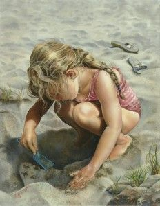 Brenda Hoddinott, artist ~ little girl playing in sand on beach ~ summer Memories Realistic Paintings, Paintings I Love, Oil Paintings, Beach Paintings, Art Sculpture, Painting People, Best Oils, Beach Scenes, Portraits