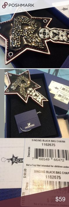 """Swarovski Crystal KeyChain Ring FOB Bag Charm +Box Brand new 100% authentic Comes with gift box Gorgeous and blingy :-) We have a clean and smoke free home Enjoy! :-) Retails $90 ~~~~~~~~~~ Swarovski Original Charm About 4"""" in length Bag Charm bedazzled with real swarovski crystals Stainless Steel Metal Comes in original retail box swarovski Accessories Key & Card Holders"""