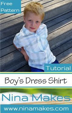Free pattern and tutorial for this classic boy's dress shirt, too cute!