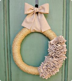 How to Make a Ruffle Wreath with Rope and a Drop Cloth-- from @Brooke Ulrich