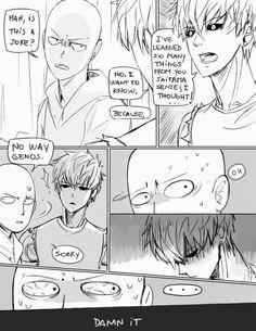 Genos, Saitama, comic, text, funny, yaoi, GenoSai; One Punch Man