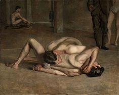 Thomas Eakins - Wrestlers, 1899 Oil on canvas x cm) Los Angeles County Museum of Art Jean Leon, Oil On Canvas, Canvas Art, Male Figure, Art Graphique, Gay Art, Artist Canvas, Figure Painting, American Artists