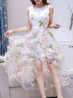 Round Neck High-Low Tiered Floral Hollow Out Skater Dress - berrylook.com
