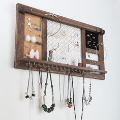Diy Jewelry Wall, Wall Mounted Jewelry Armoire, Diy Jewelry Holder, Jewelry Hanger, Rustic Jewelry, Homemade Jewelry Holder, Necklace Holder, Diy Jewelry Stand, Wood Jewelry Display