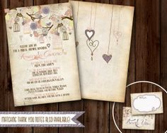 Rustic Wedding or Baby Shower invitation- PLUM Bird Cages- now with matching Thank You Notes!