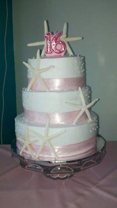 Beach theme birthday cake #beachcake#sweet16#starfishcake