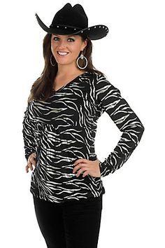 Roper Ladies Black with Silver Foil Zebra Print Long Sleeve Fashion Top