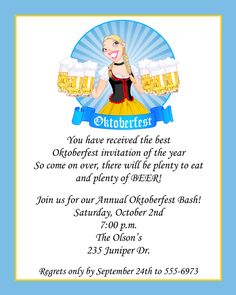 Oktoberfest Invitations Free Printable Invitation Oktoberfest - Birthday invitation in germany