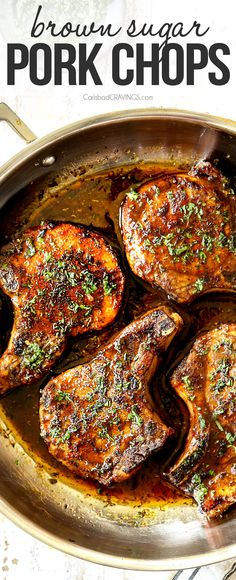 Brown Sugar Pork Chops spice rubbed and bathed in a tantalizing garlic, herb, butter brown sugar sauce for an easy dinner win! You will be AMAZED at just how easy and scrumptious these brown sugar pork chops are! #porkchops #pork #porkrecipes #porkmarinade #bakedporkchops #dinner #dinnerrecipes #dinnerideas #recipes #easyrecipe #recipes #recipeoftheday #recipeideas via @carlsbadcraving Kitchen Recipes, Cooking Recipes, Brown Sugar Pork Chops, Juicy Pork Chops, Carlsbad Cravings, How To Cook Pork, Baked Pork, Easy Dinner Recipes, Easy Recipes