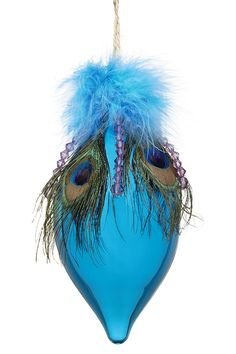 Teardrop Peacock Ornaments with Feathers - Set of 4