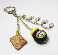 Cute little Marmite & toast key-chain/handbag charm, handmade with love by Jennee xxx (Important Information: As much as we all love Marmite on toast please reach for the cupboard when you feel peckish and do not attempt to eat this fabulous Marmit. Love Is Gone, Love Is All, Marmite On Toast, Love Keychain, Love Tag, Love Charms, Good Enough To Eat, Polymer Clay, Charmed
