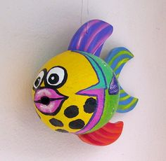 Tropical Fish Coconut Fish Hand Painted and Hand by roseartworks, $35.00