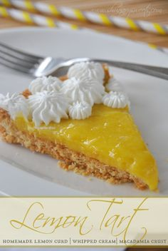 Lemon Tart with Macadamia Nut Crust - Shugary Sweets