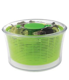 For no-cook dinners, using Oxo's Good Grips Salad Spinner ($29.99, amazon.com) is easy as can be — the 4 1/2-quart model requires just one hand to press the non-slip knob and start the spinning, while the lid includes a built-in brake. The bright green color makes it a fun serving piece.  - GoodHousekeeping.com