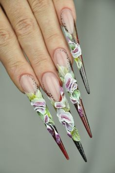 Ilona Musik Step by Step issue. These are really pretty,but,alas, impractic. 3d Nail Designs, Crazy Nail Designs, Beautiful Nail Designs, Beautiful Nail Art, Crazy Nail Art, Crazy Nails, Funky Nails, Cool Nail Art, Long Stiletto Nails