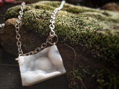 Druzy Quartz Necklace - Natural Raw White Snow Druzy Geode - Crystal Necklace by CrystalDestinies on Etsy